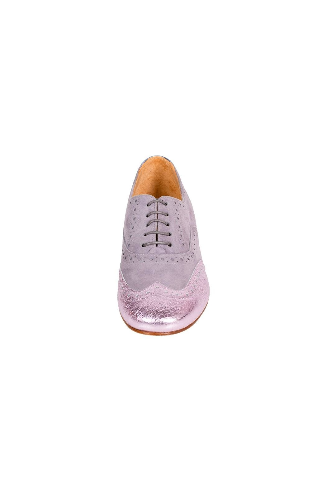 Pascucci Lilac-Leather Flat Brogue - Side Cropped Image