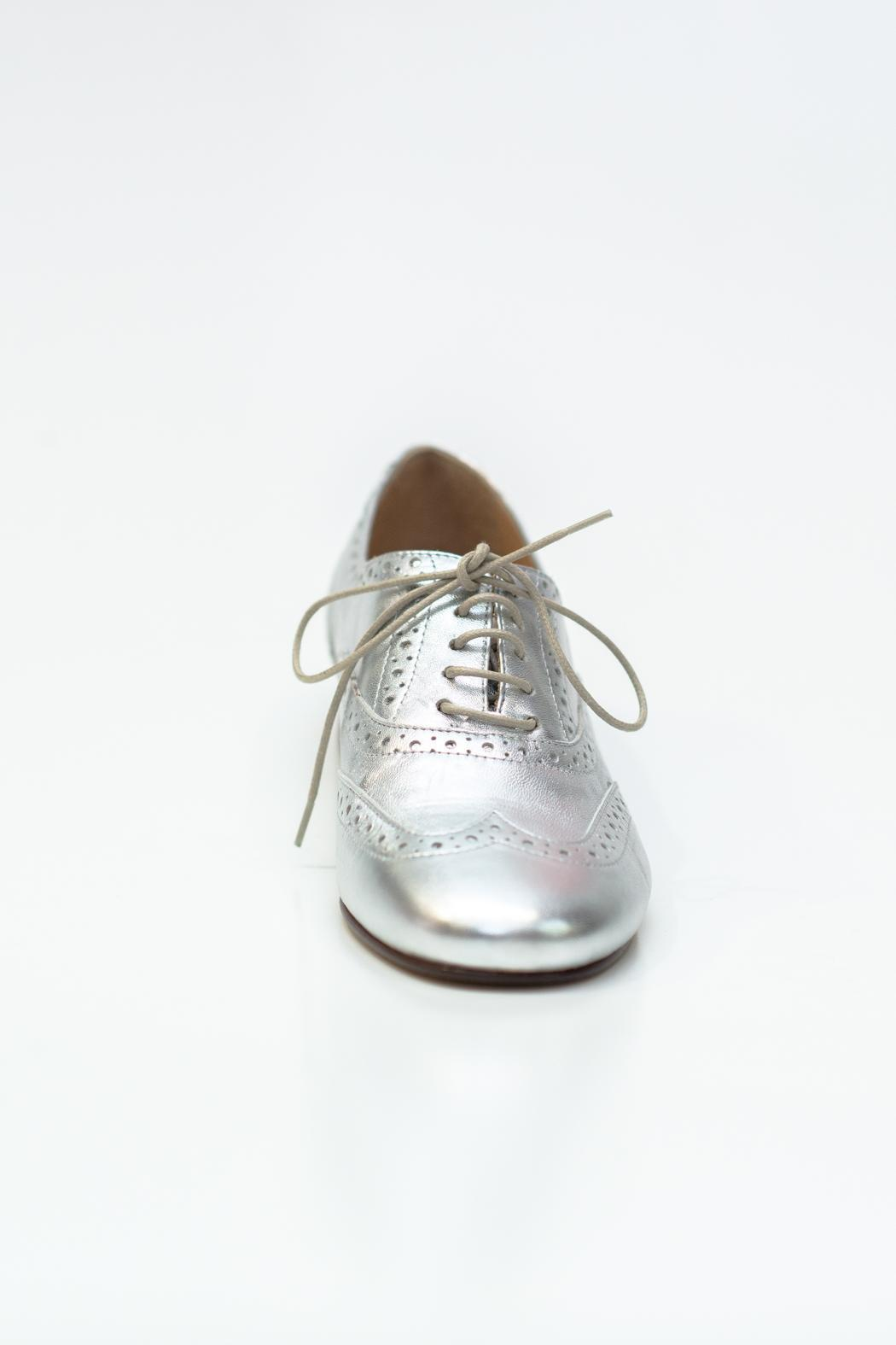Pascucci Metallic Silver Brogue - Front Cropped Image