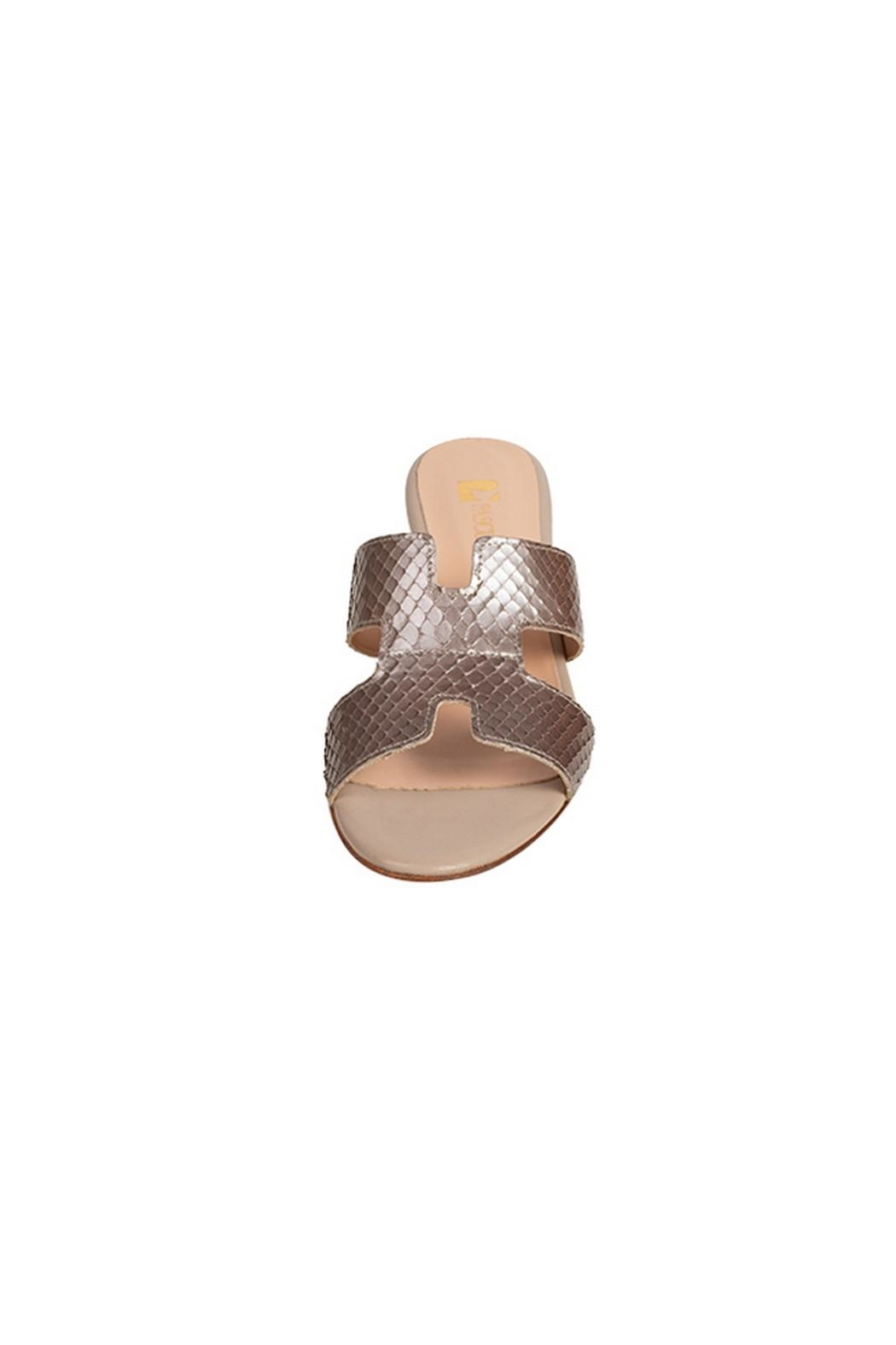 Pascucci Metallic-Taupe Snakeskin H-Slides - Side Cropped Image
