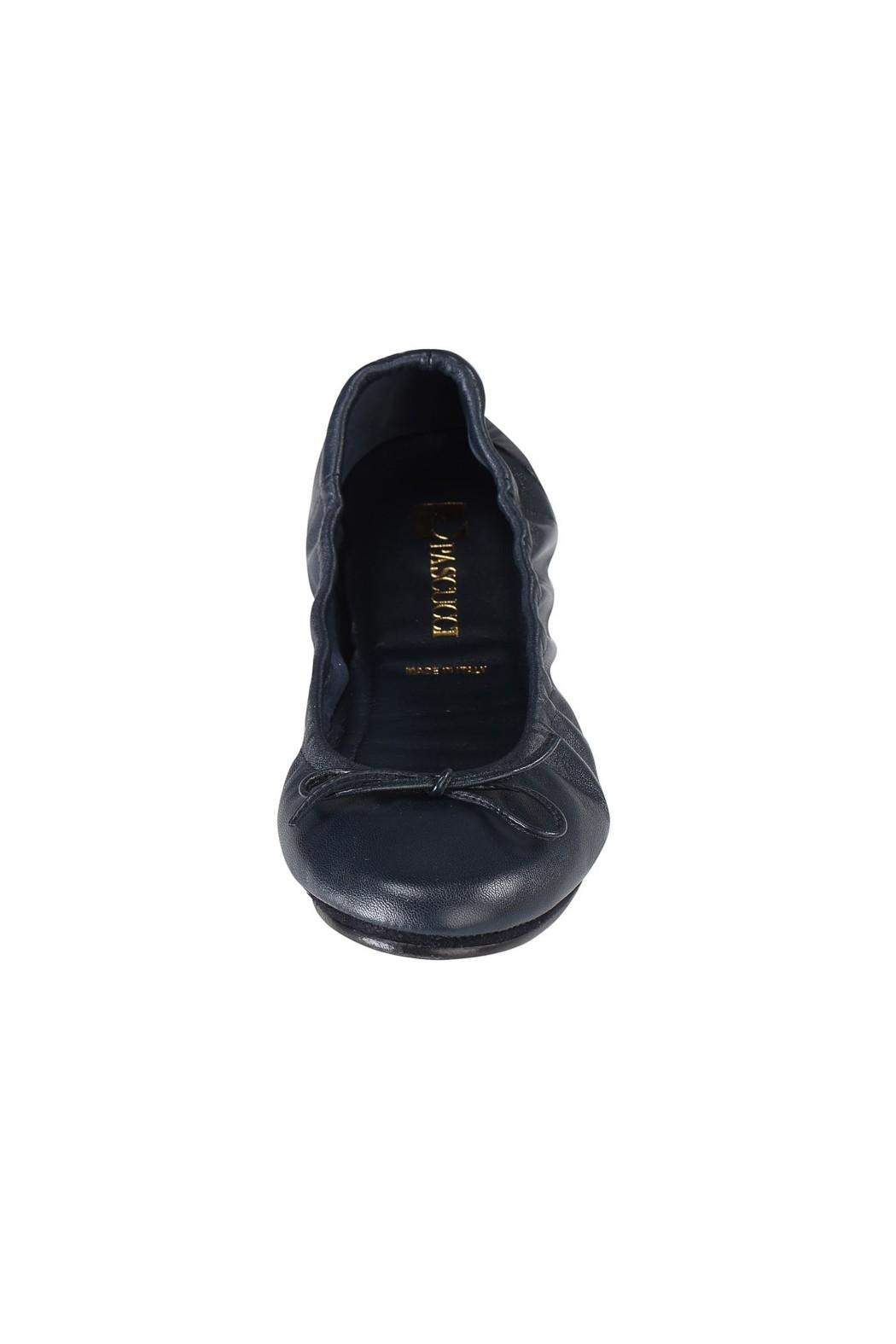 Pascucci Navy Ballet Flats - Side Cropped Image