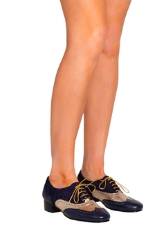 Pascucci Navy Gold Brogues - Alternate List Image