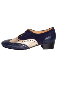 Pascucci Navy Gold Brogues - Product List Image