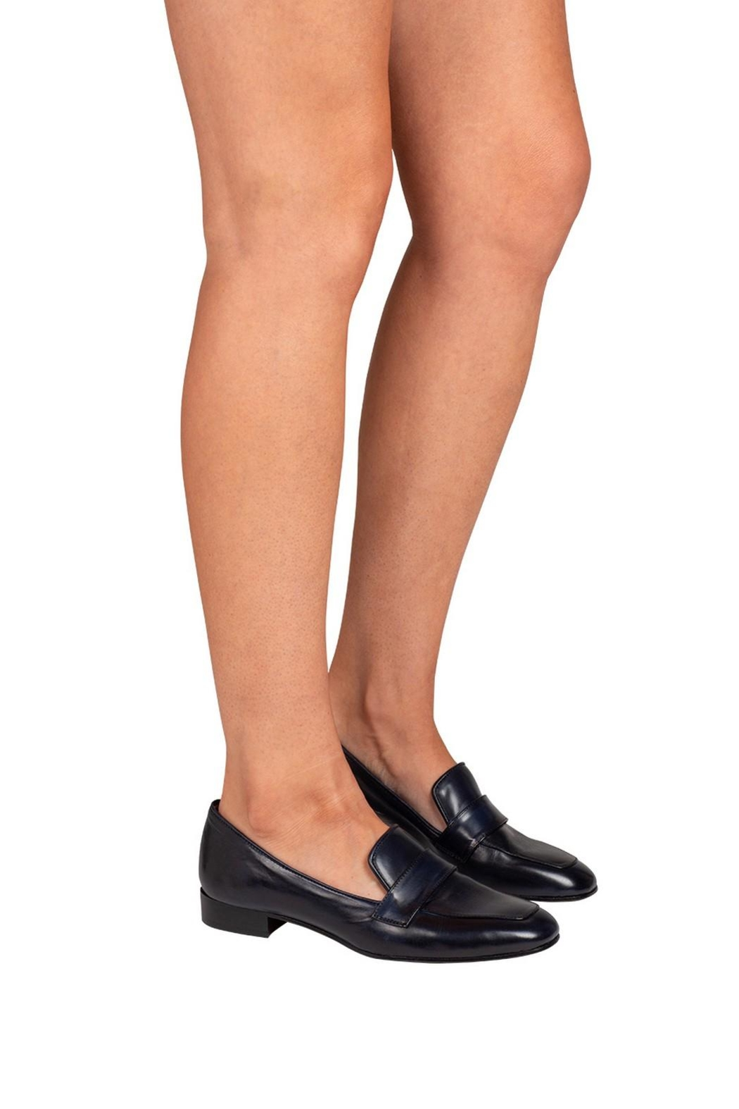 Pascucci Navy Leather Loafers - Back Cropped Image