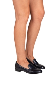 Pascucci Navy Leather Loafers - Back cropped