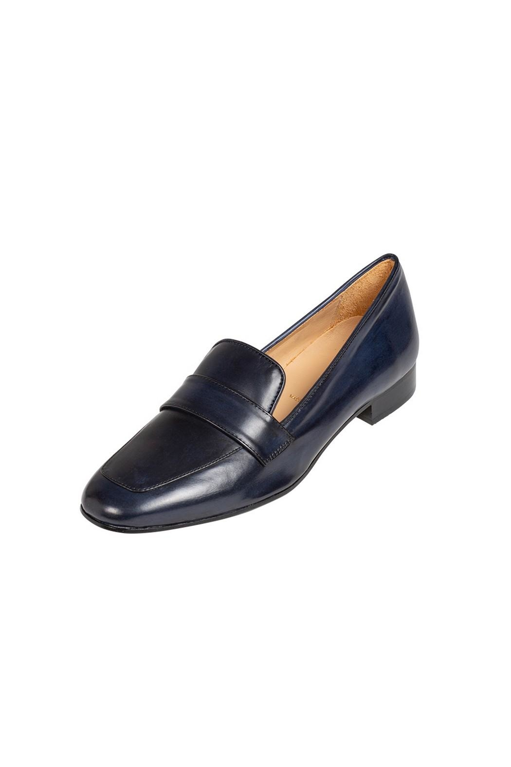 Pascucci Navy Leather Loafers - Front Full Image