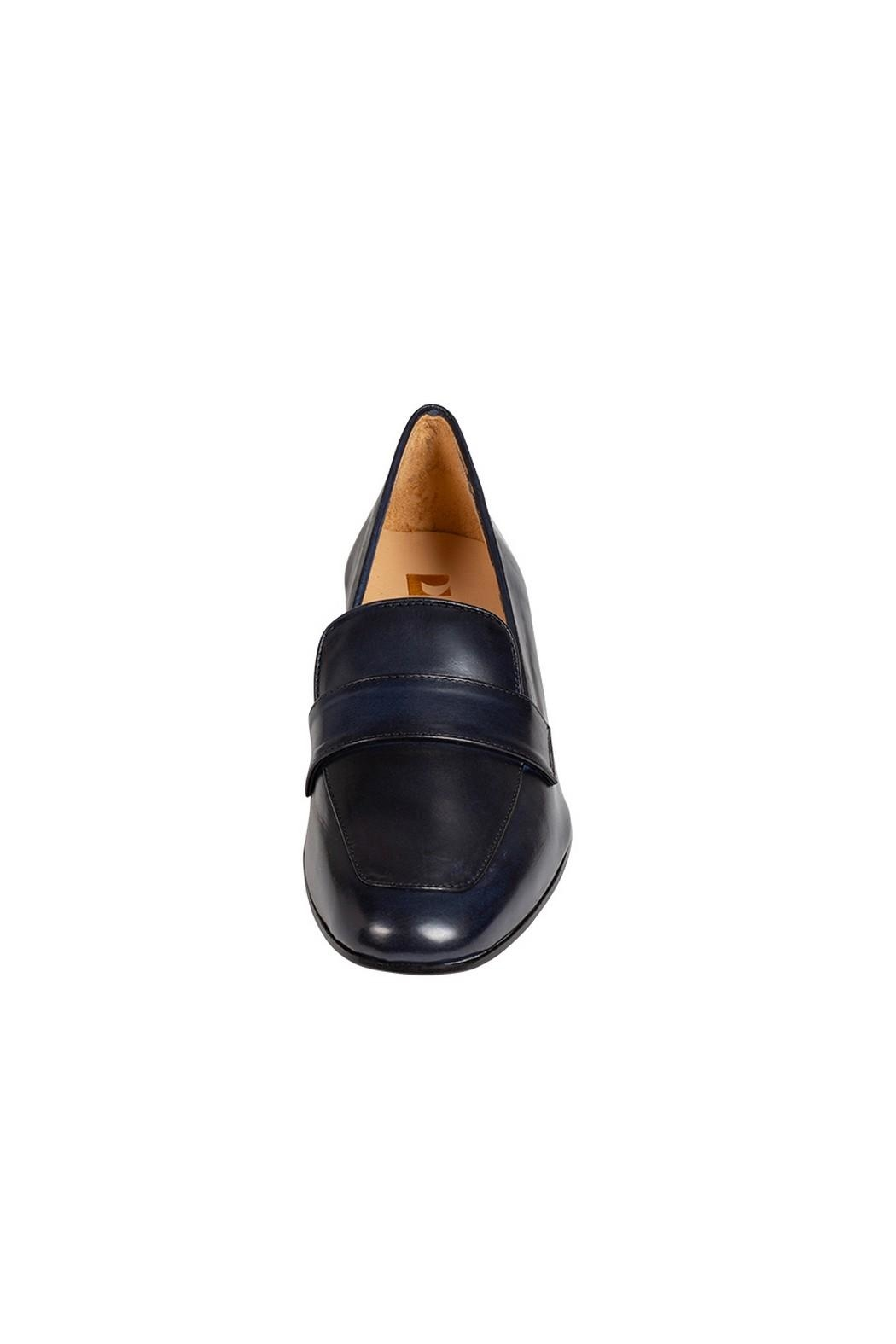 Pascucci Navy Leather Loafers - Side Cropped Image