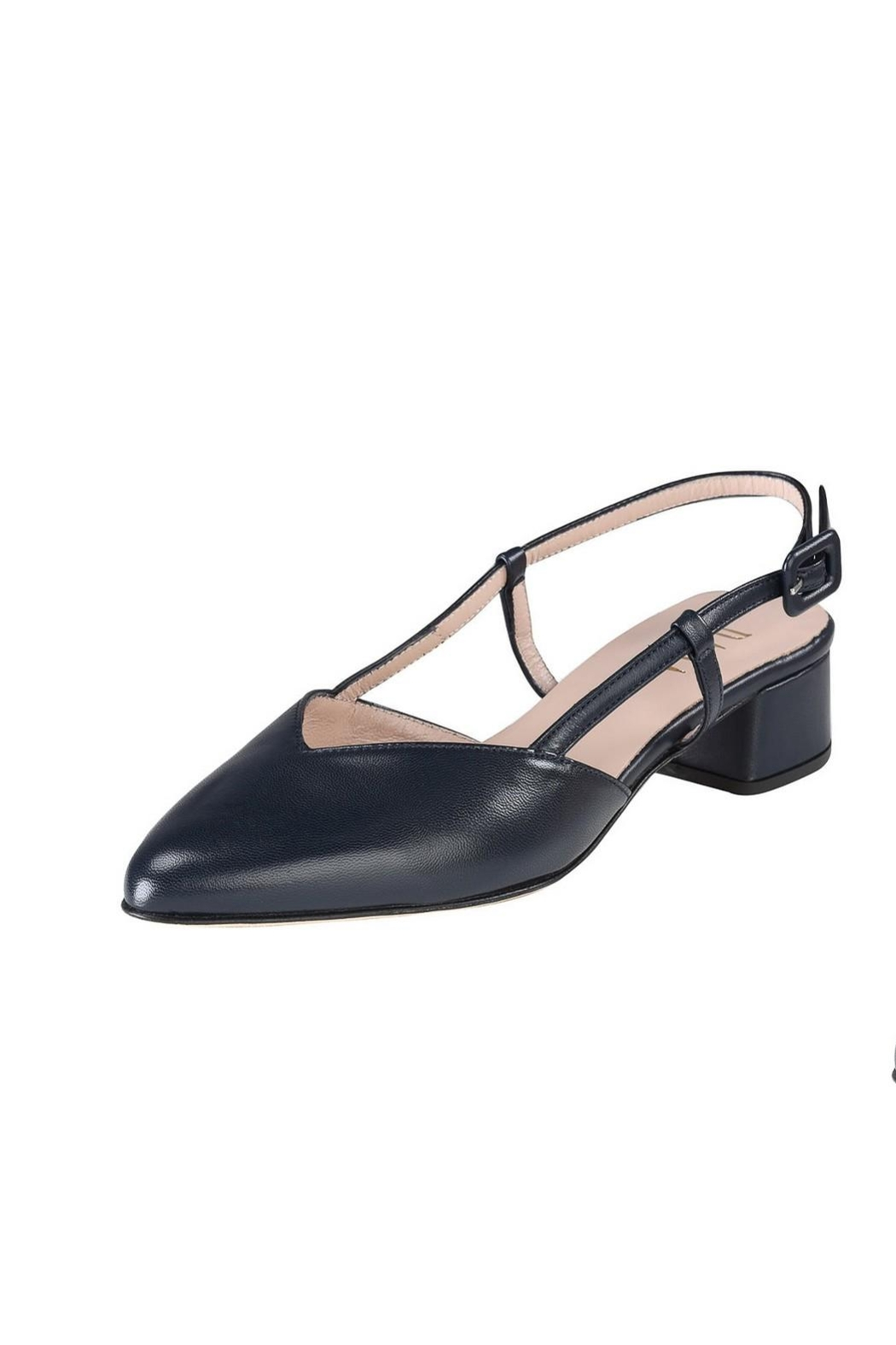 Pascucci Navy Leather Slingback - Front Full Image