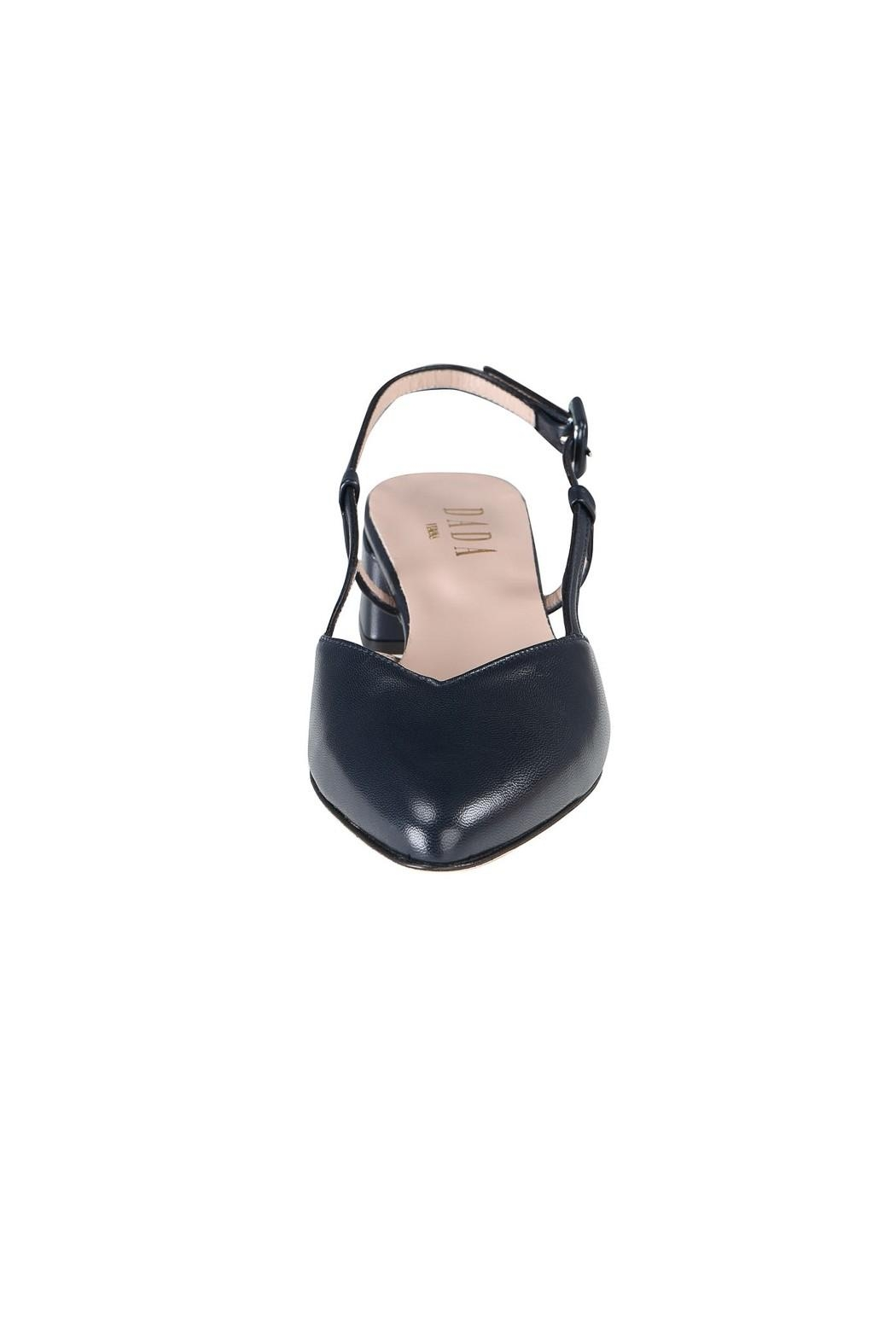 Pascucci Navy Leather Slingback - Side Cropped Image
