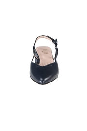 Pascucci Navy Leather Slingback - Side cropped