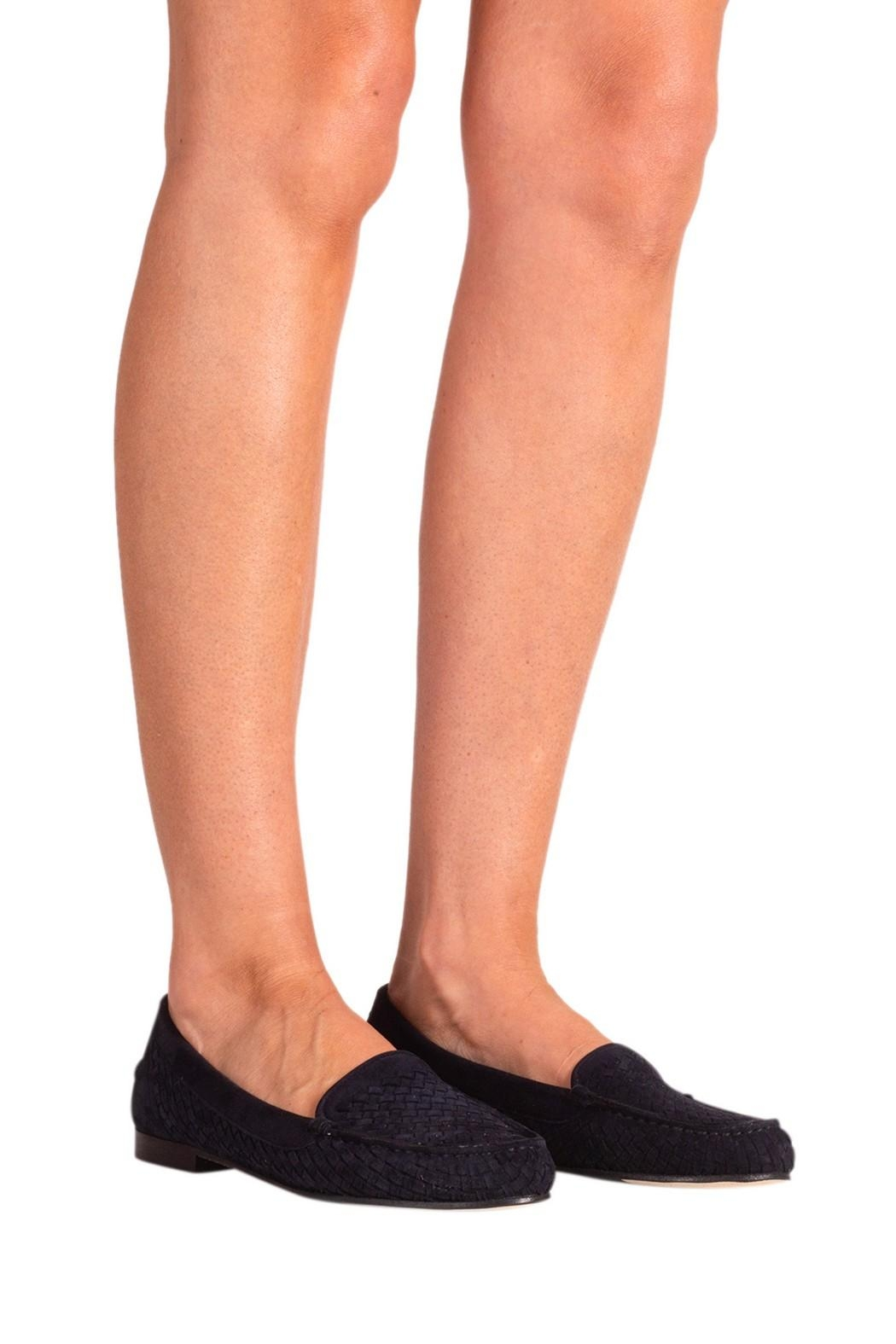 Pascucci Navy Suede Loafer - Back Cropped Image