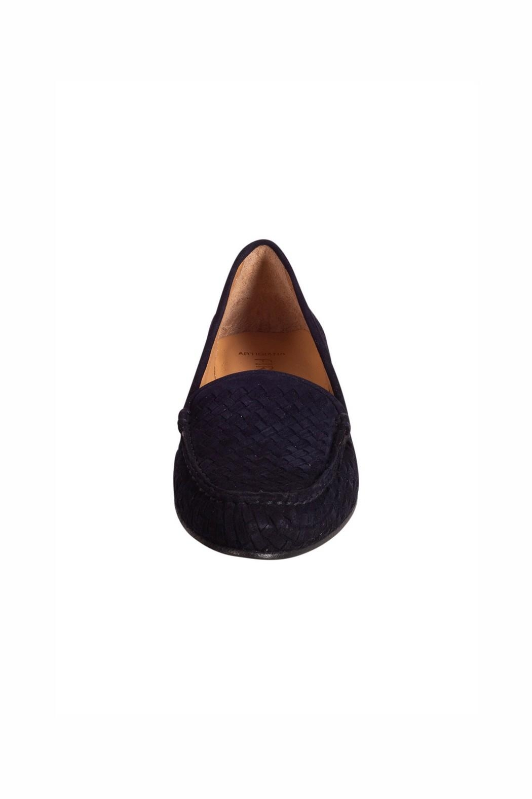 Pascucci Navy Suede Loafer - Side Cropped Image