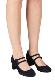 Pascucci Navy Suede Mary-Jane - Back cropped