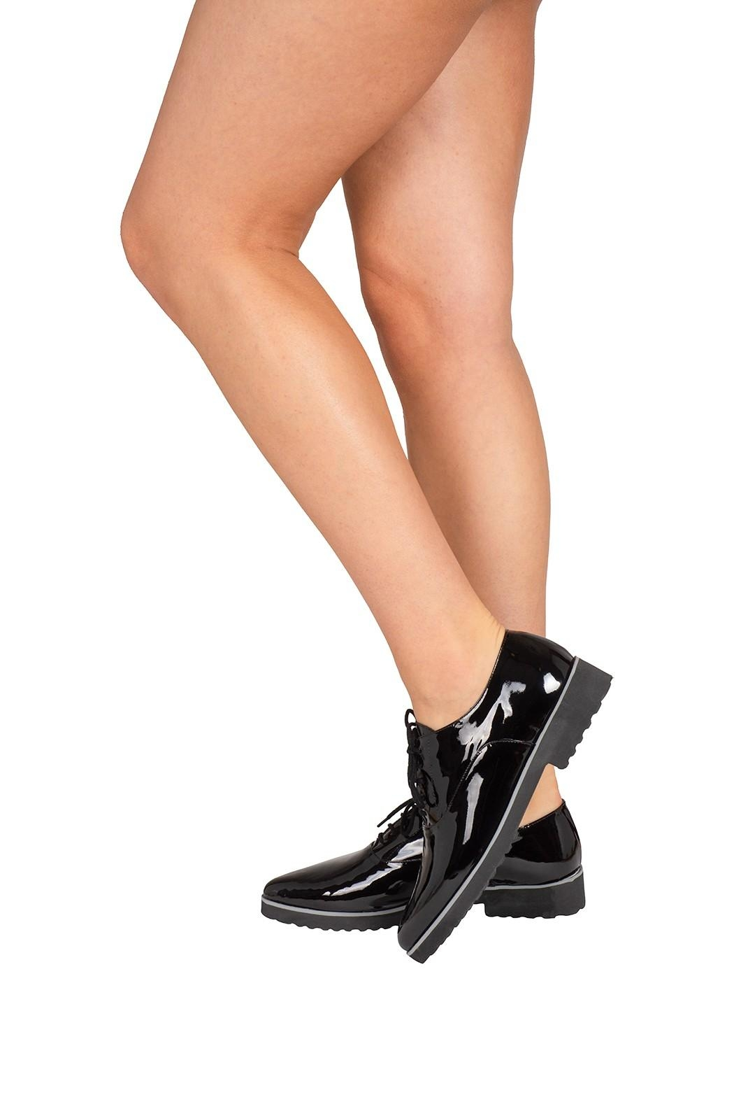 Pascucci Patent-Leather, Black, Brogues - Back Cropped Image