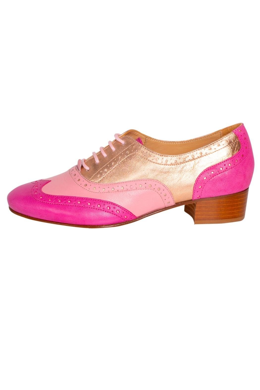 Pascucci Pink Heeled Brogue - Front Cropped Image