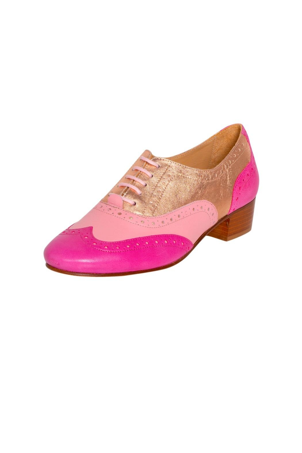Pascucci Pink Heeled Brogue - Front Full Image