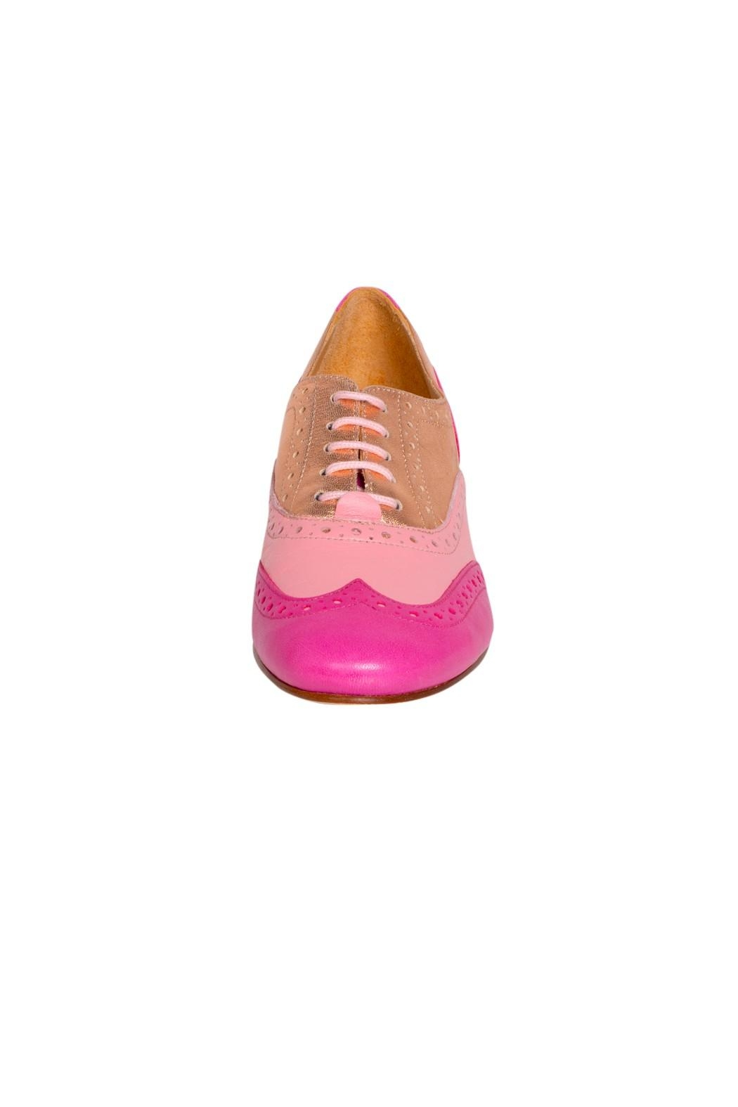 Pascucci Pink Heeled Brogue - Side Cropped Image