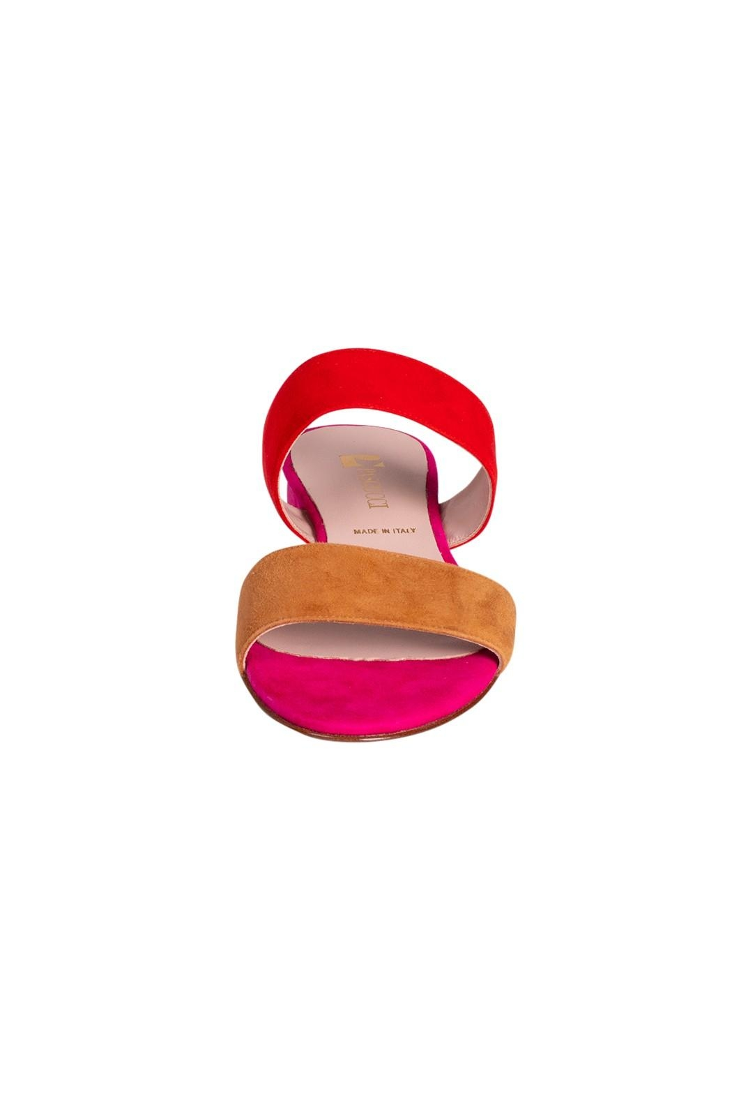 Pascucci Pink-Red Suede Slides - Side Cropped Image