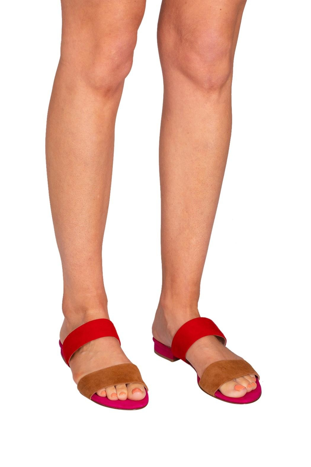 Pascucci Pink-Red Suede Slides - Back Cropped Image