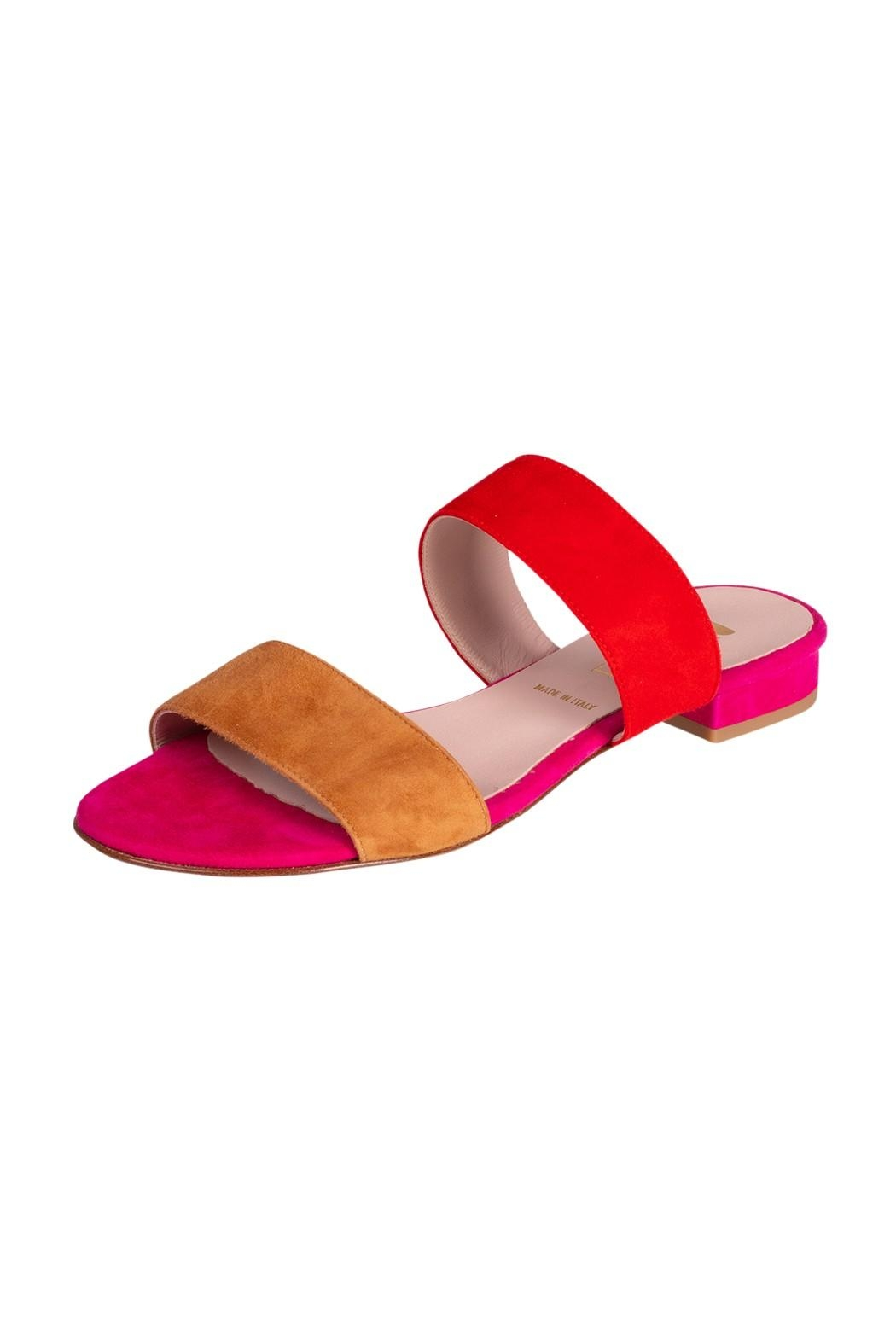 Pascucci Pink-Red Suede Slides - Front Full Image