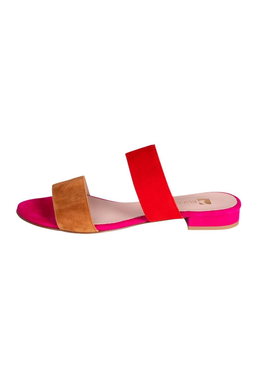 Pascucci Pink-Red Suede Slides - Main Image