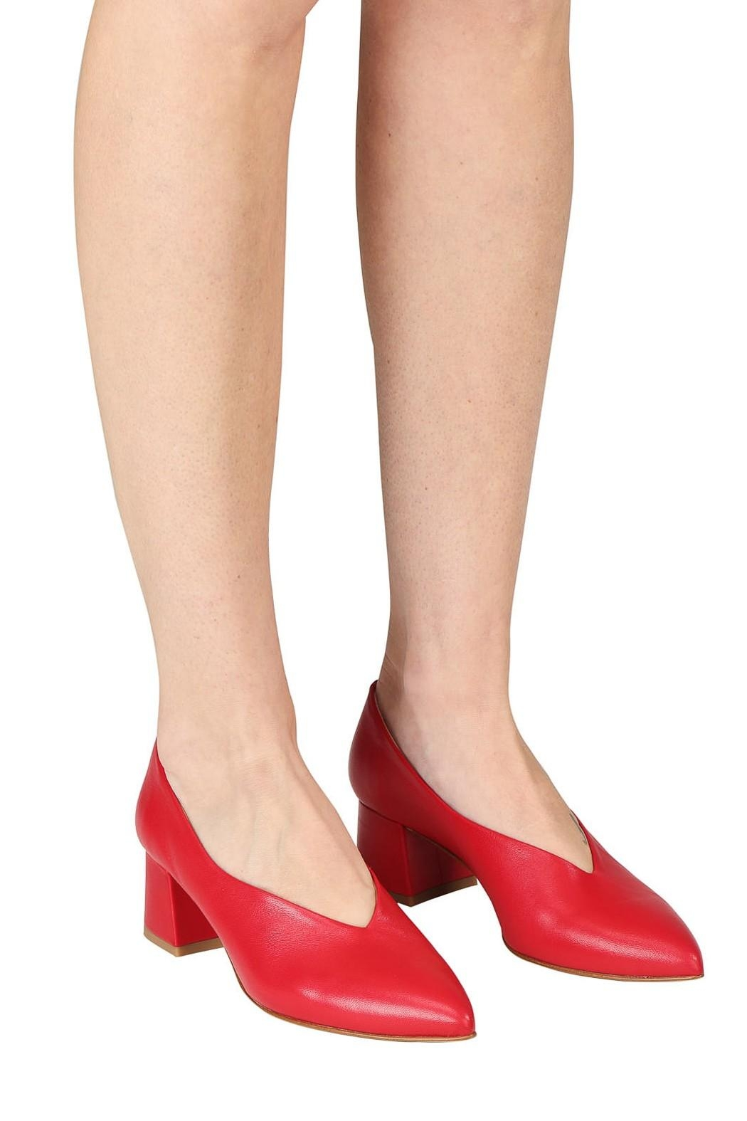 Pascucci Red Leather Pumps - Back Cropped Image