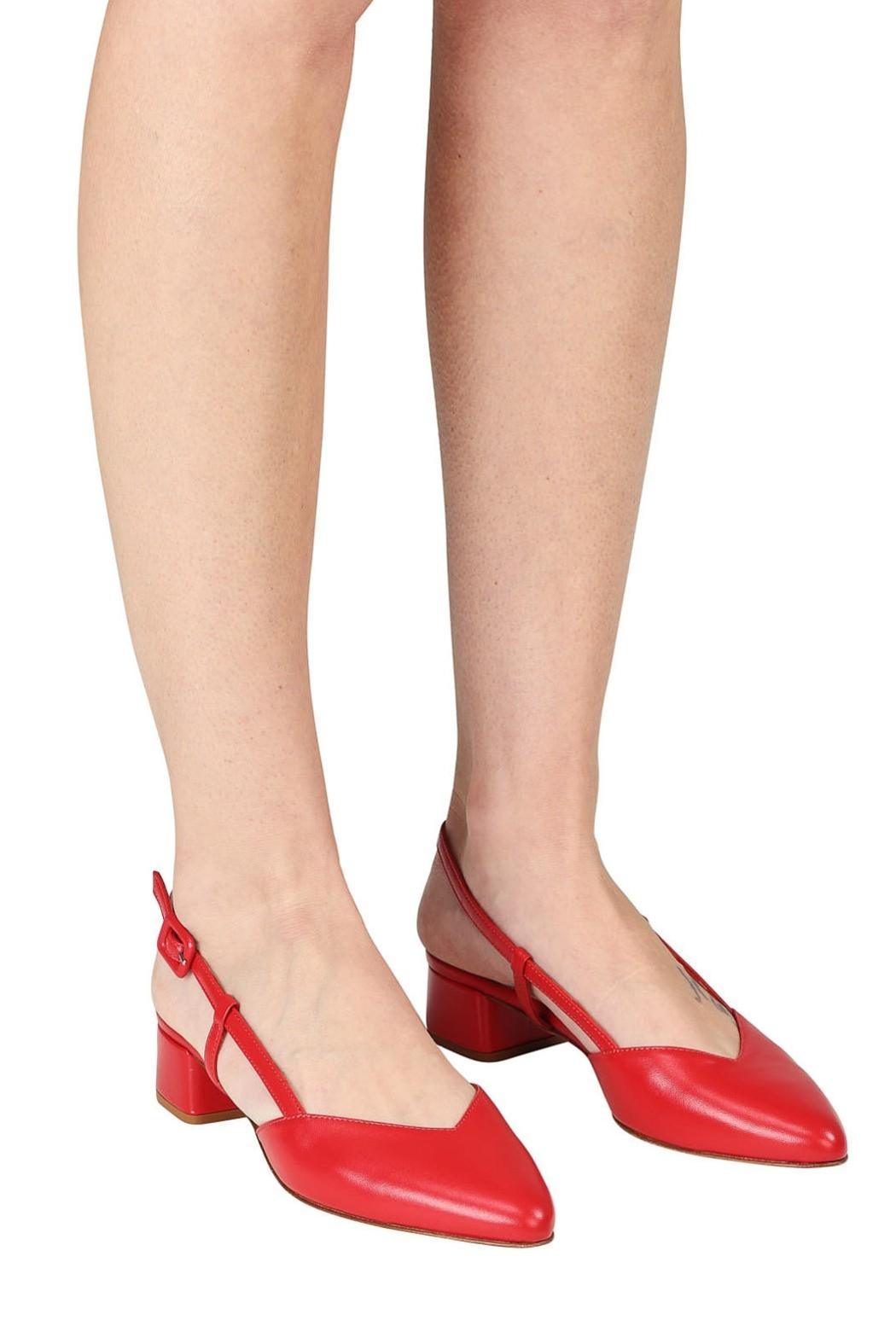 Pascucci Red Leather Slingback - Back Cropped Image