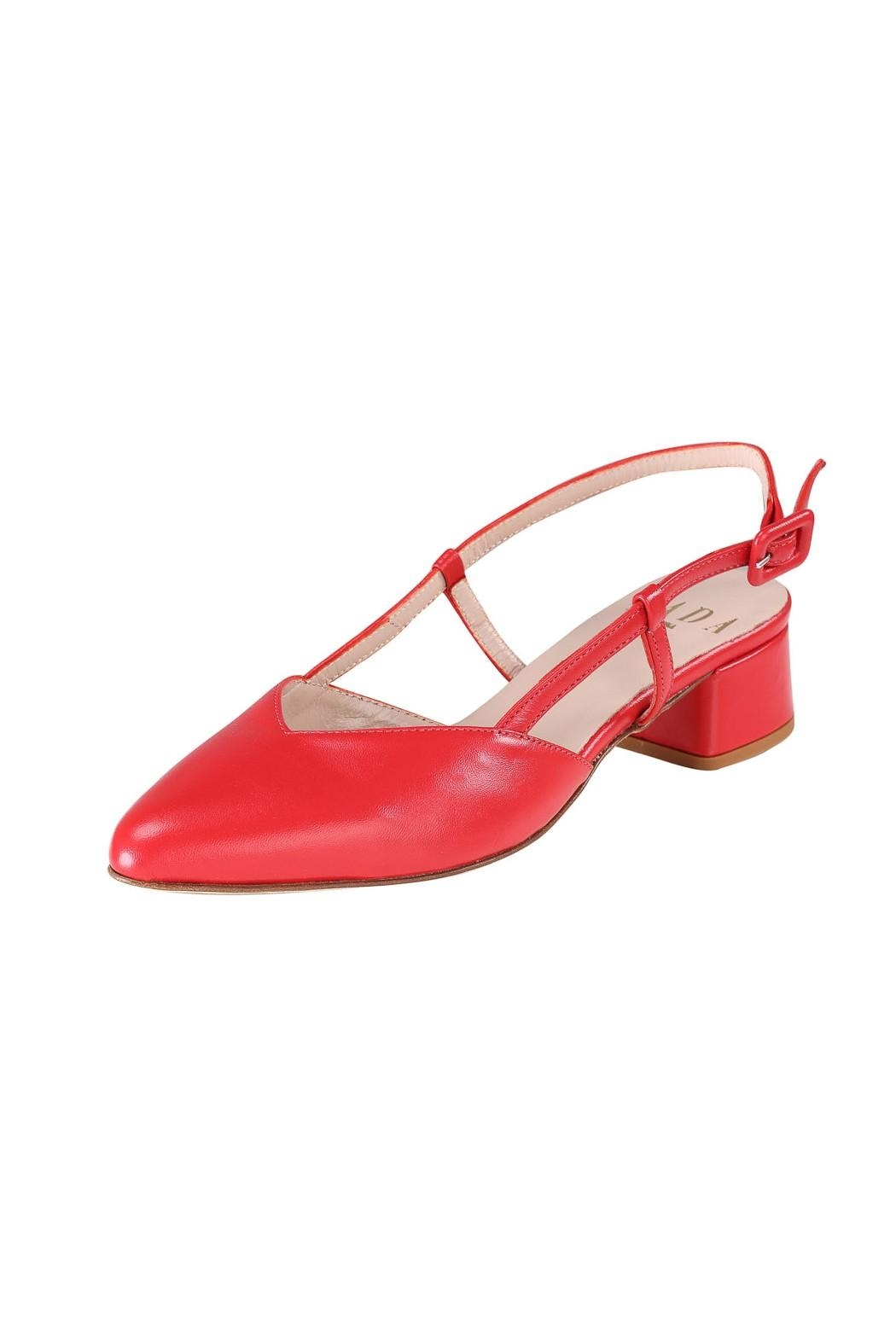Pascucci Red Leather Slingback - Front Full Image