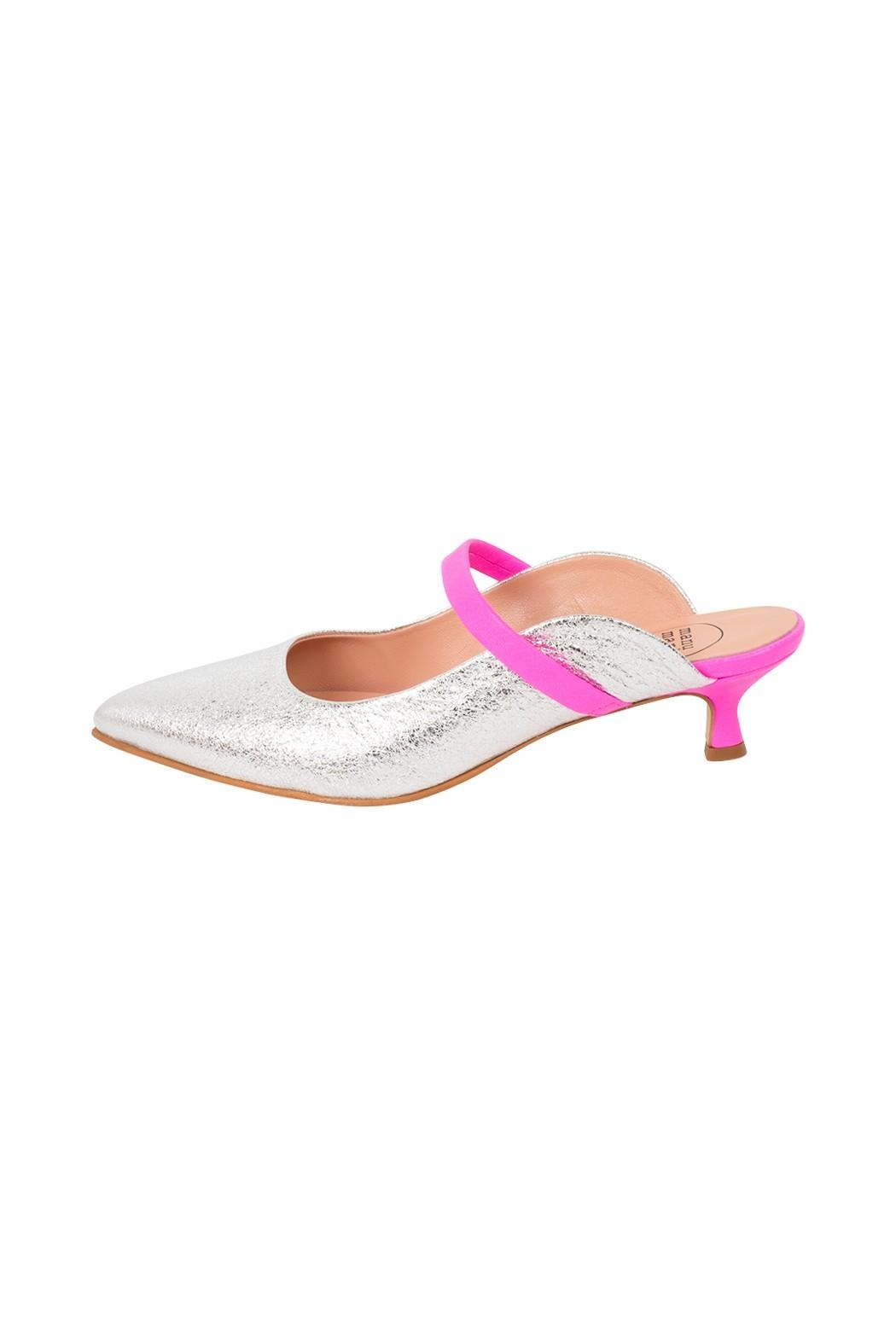 Manu Mari Silver Leather Mule - Front Cropped Image