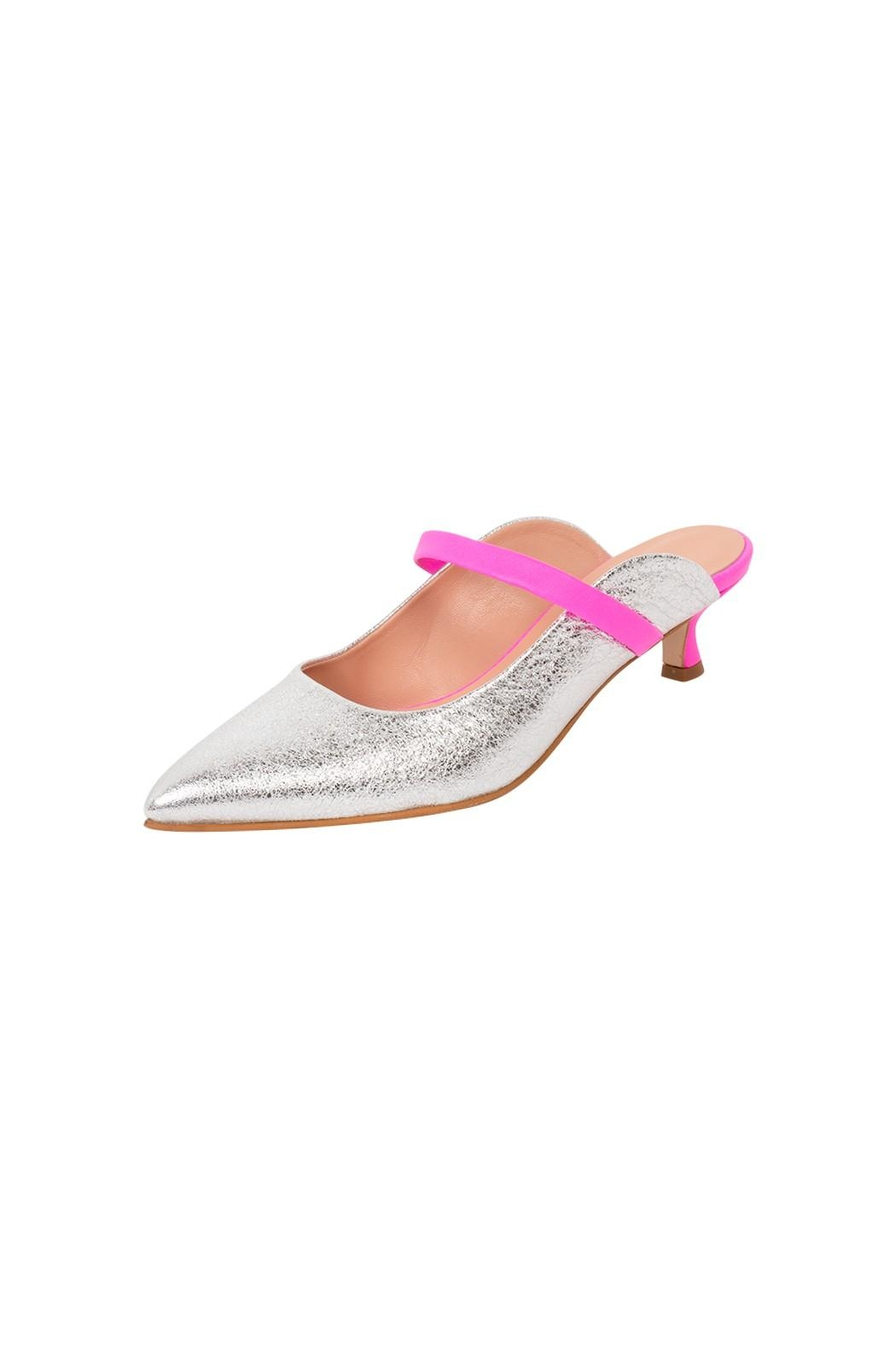 Manu Mari Silver Leather Mule - Front Full Image