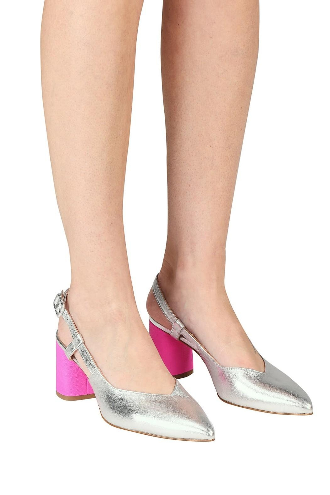 Pascucci Silver Pink Slingback - Back Cropped Image