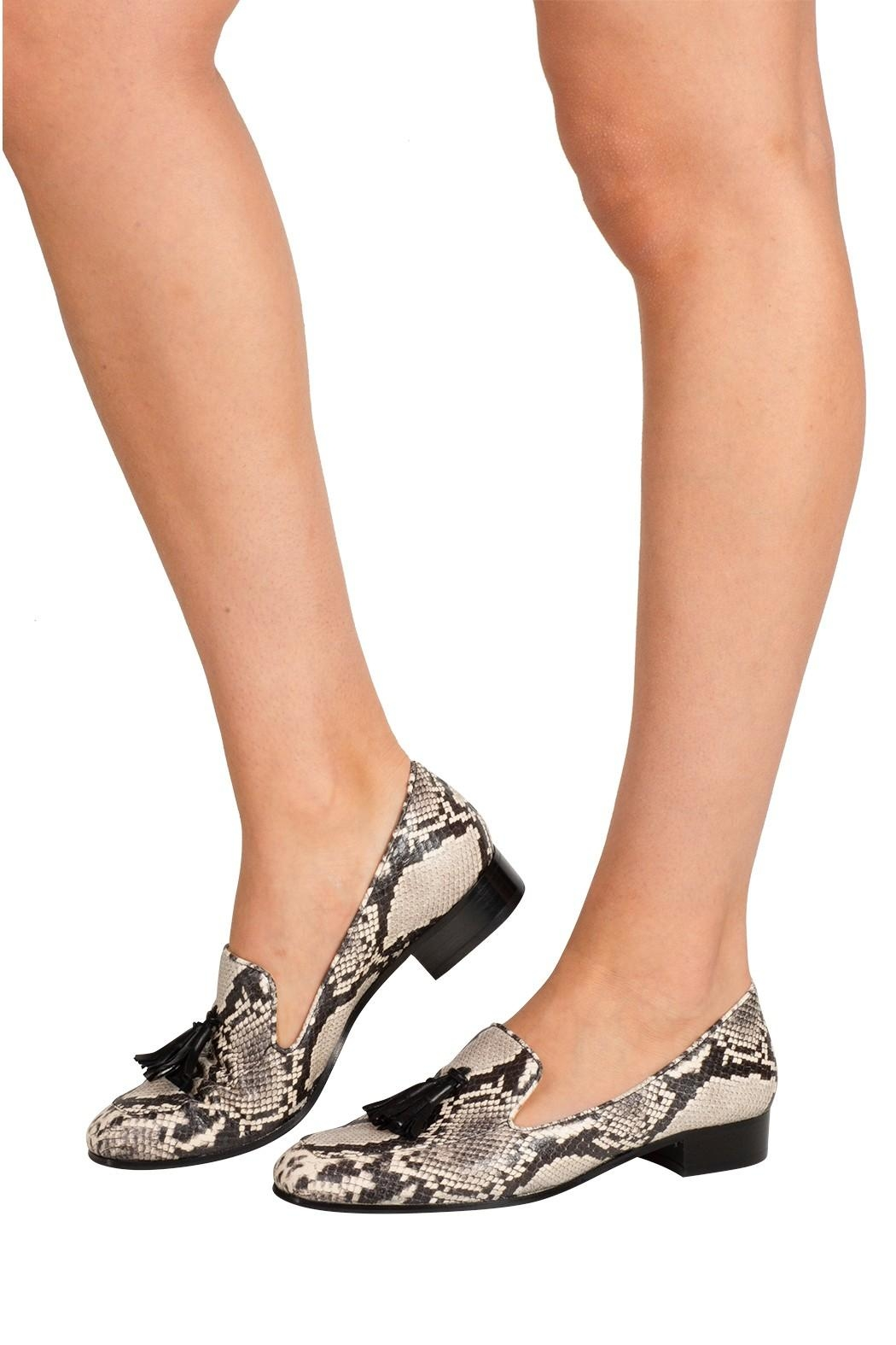 Pascucci Snakeskin Leather Loafers - Back Cropped Image