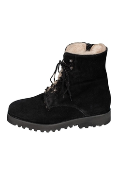 Shoptiques Product: Suede Fur-Lined Ankle-Boots