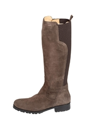 Pascucci Suede Taupe Knee-High-Boots - Front cropped