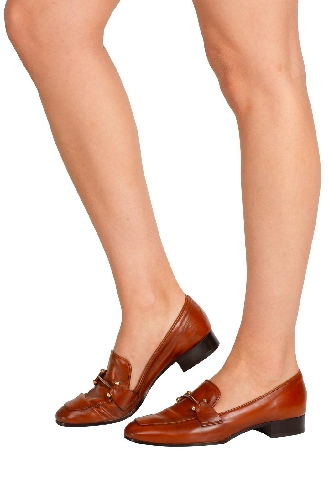 Pascucci Tan Leather Loafer - Back Cropped Image