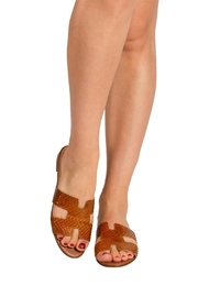 Pascucci Tan Snake-Skin H-Slide - Back cropped