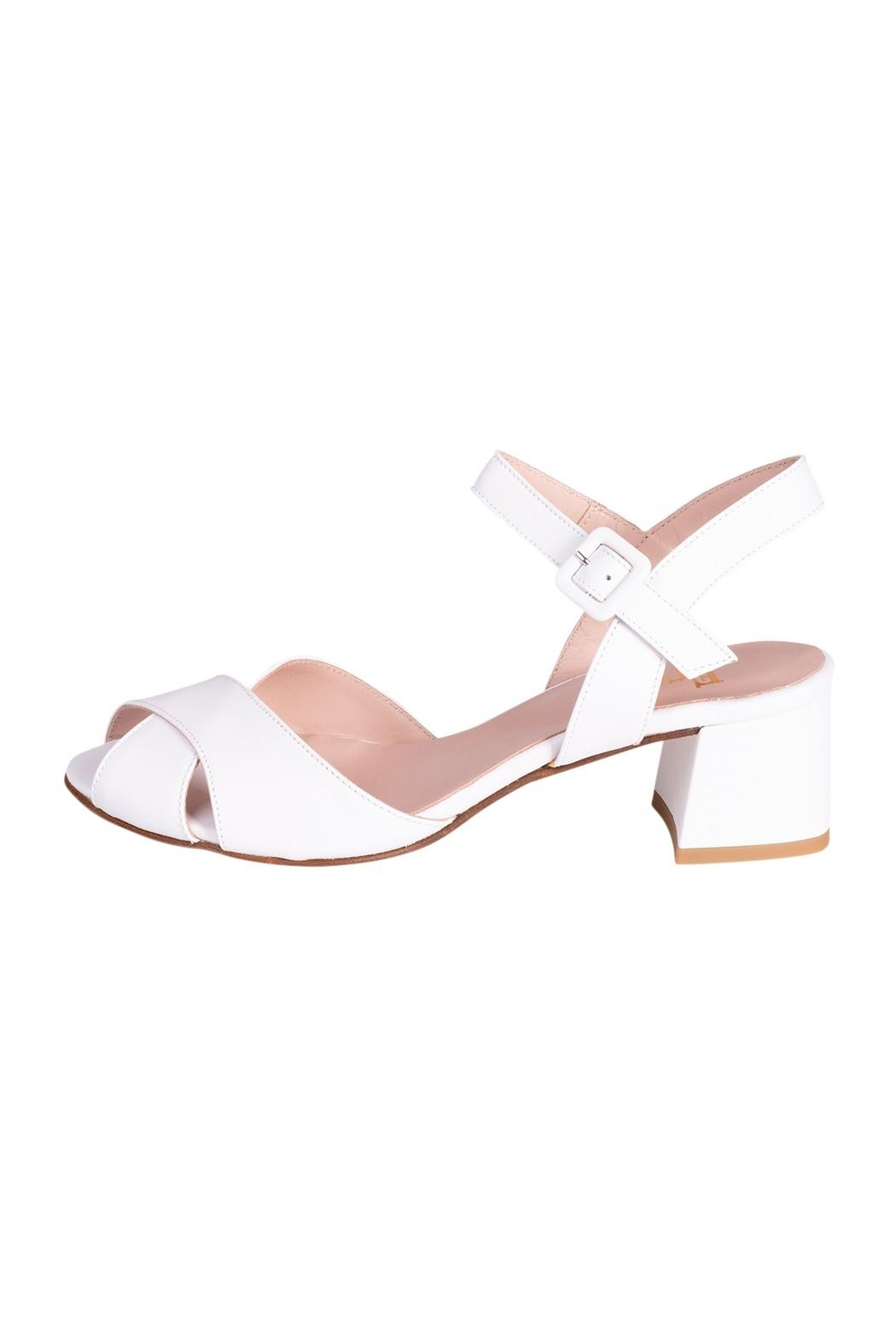 Pascucci White Heeled Sandal - Front Cropped Image