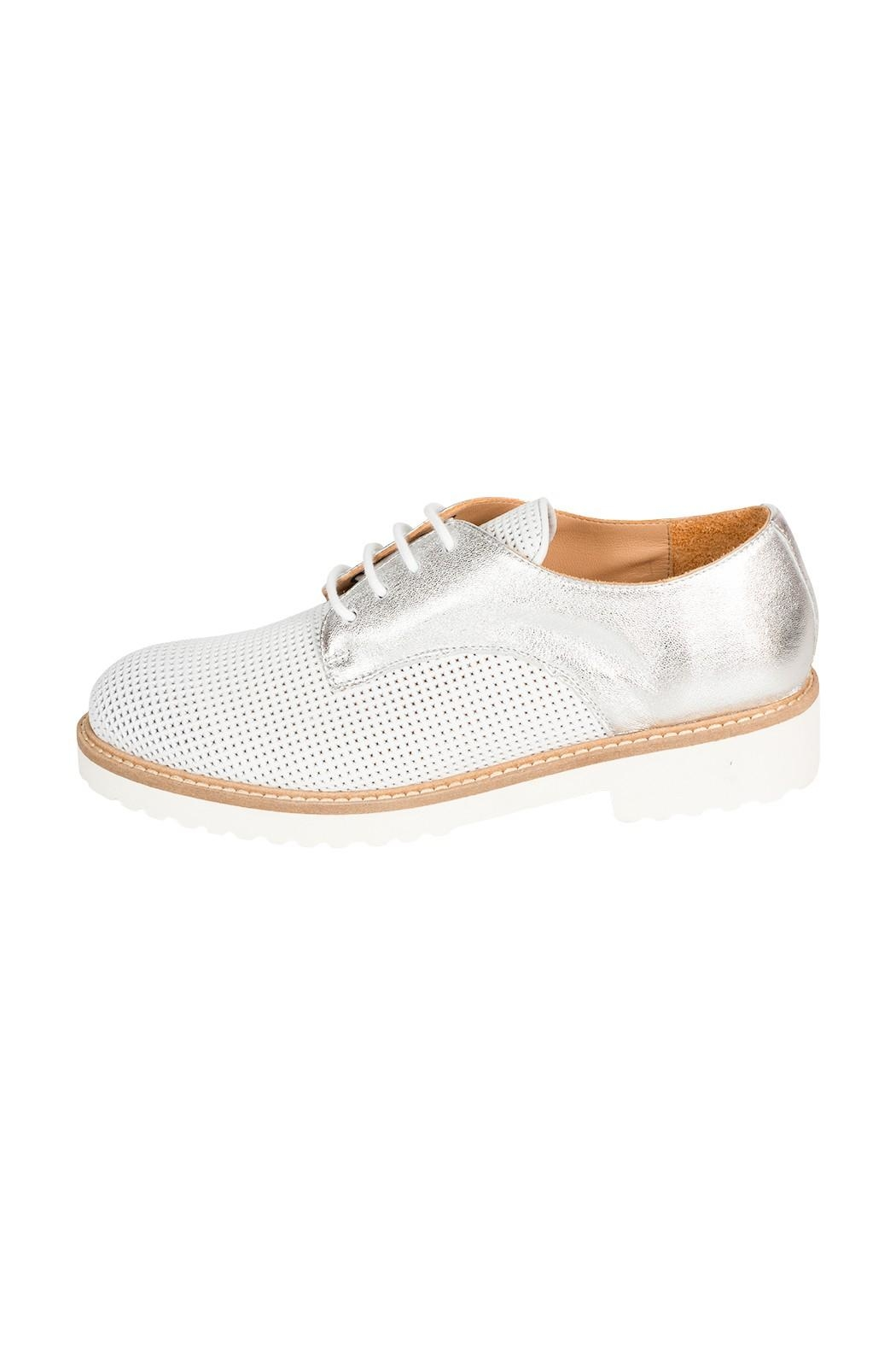 Pascucci White-Silver Leather Brogue - Main Image