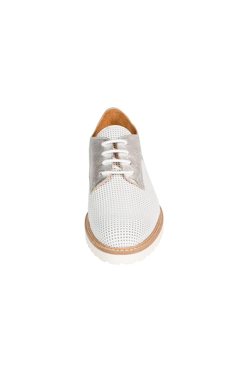 Pascucci White-Silver Leather Brogue - Side Cropped Image