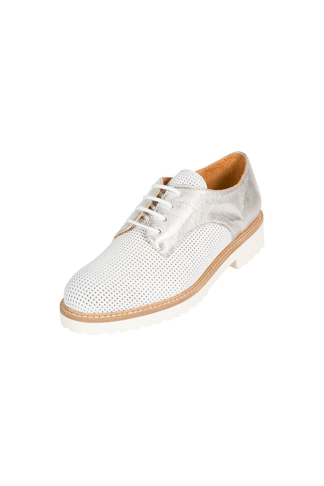 Pascucci White-Silver Leather Brogue - Front Full Image