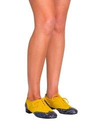 Pascucci Yellow Blue Brogues - Back cropped