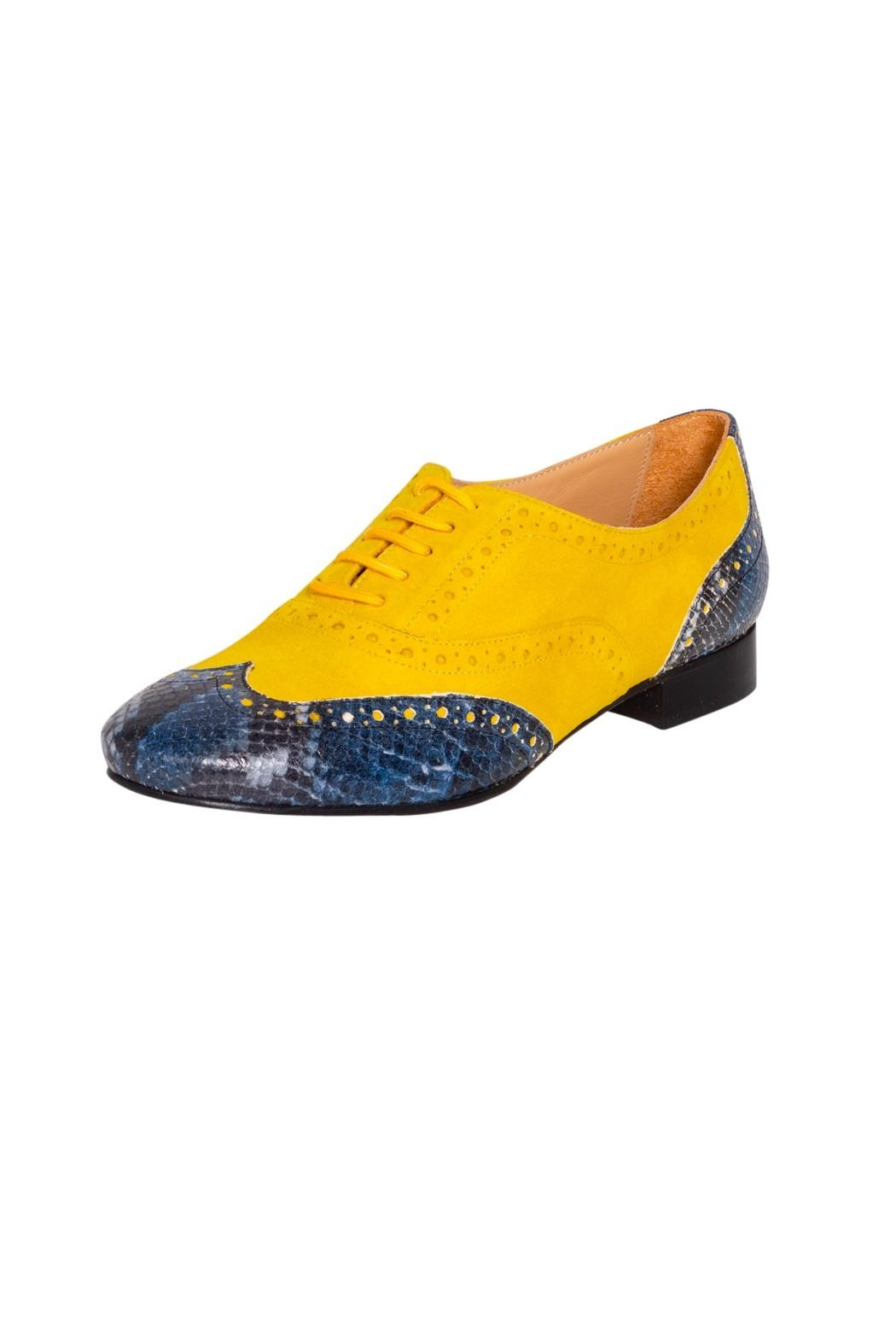 Pascucci Yellow Blue Brogues - Front Full Image