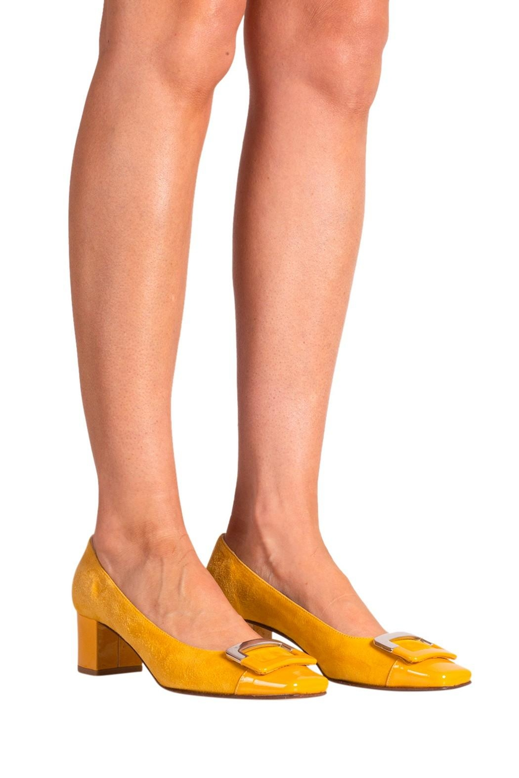 Pascucci Yellow Suede Pump - Back Cropped Image
