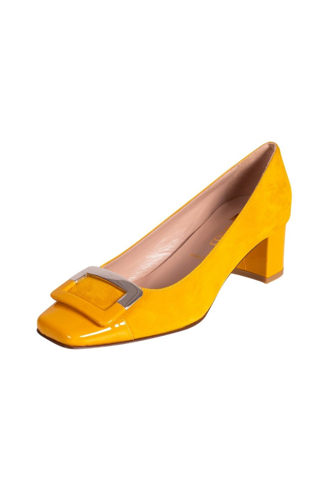 Pascucci Yellow Suede Pump - Front Full Image