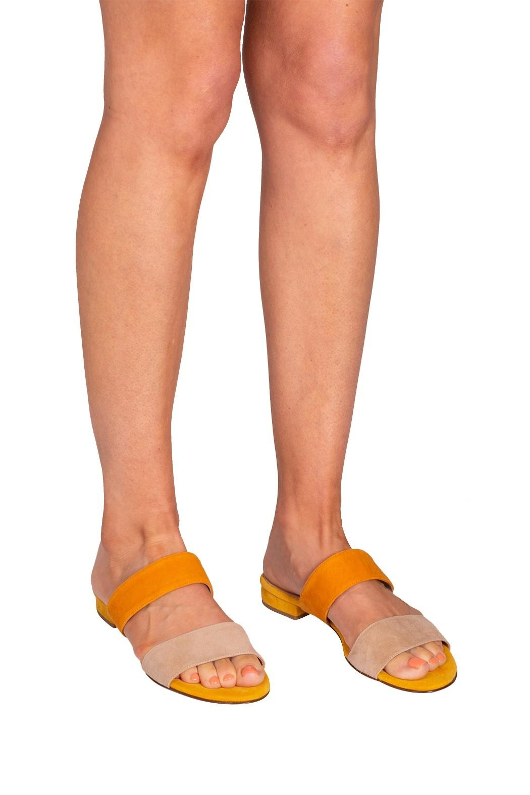 Pascucci Yellow Suede Slides - Back Cropped Image