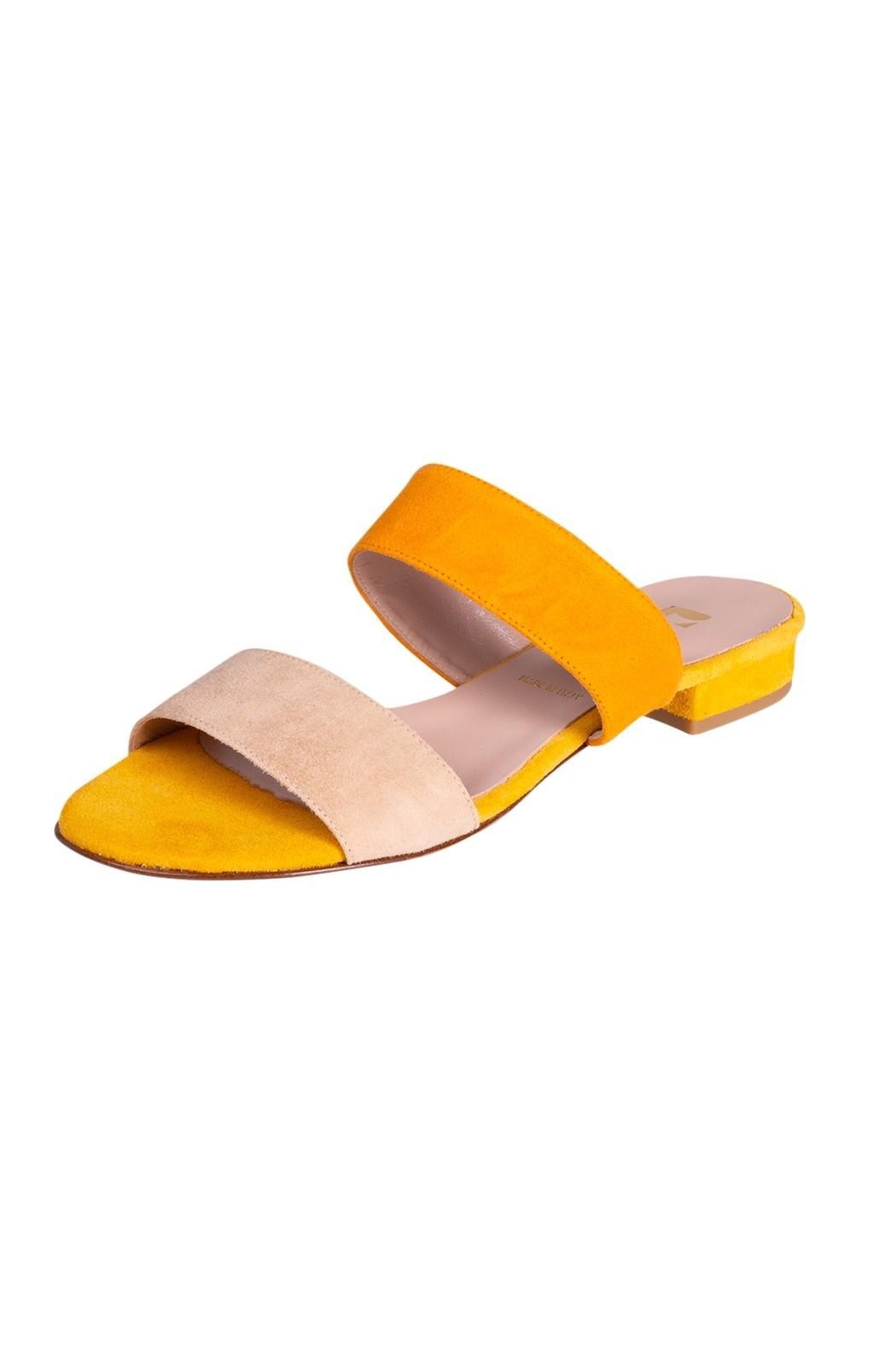 Pascucci Yellow Suede Slides - Front Full Image
