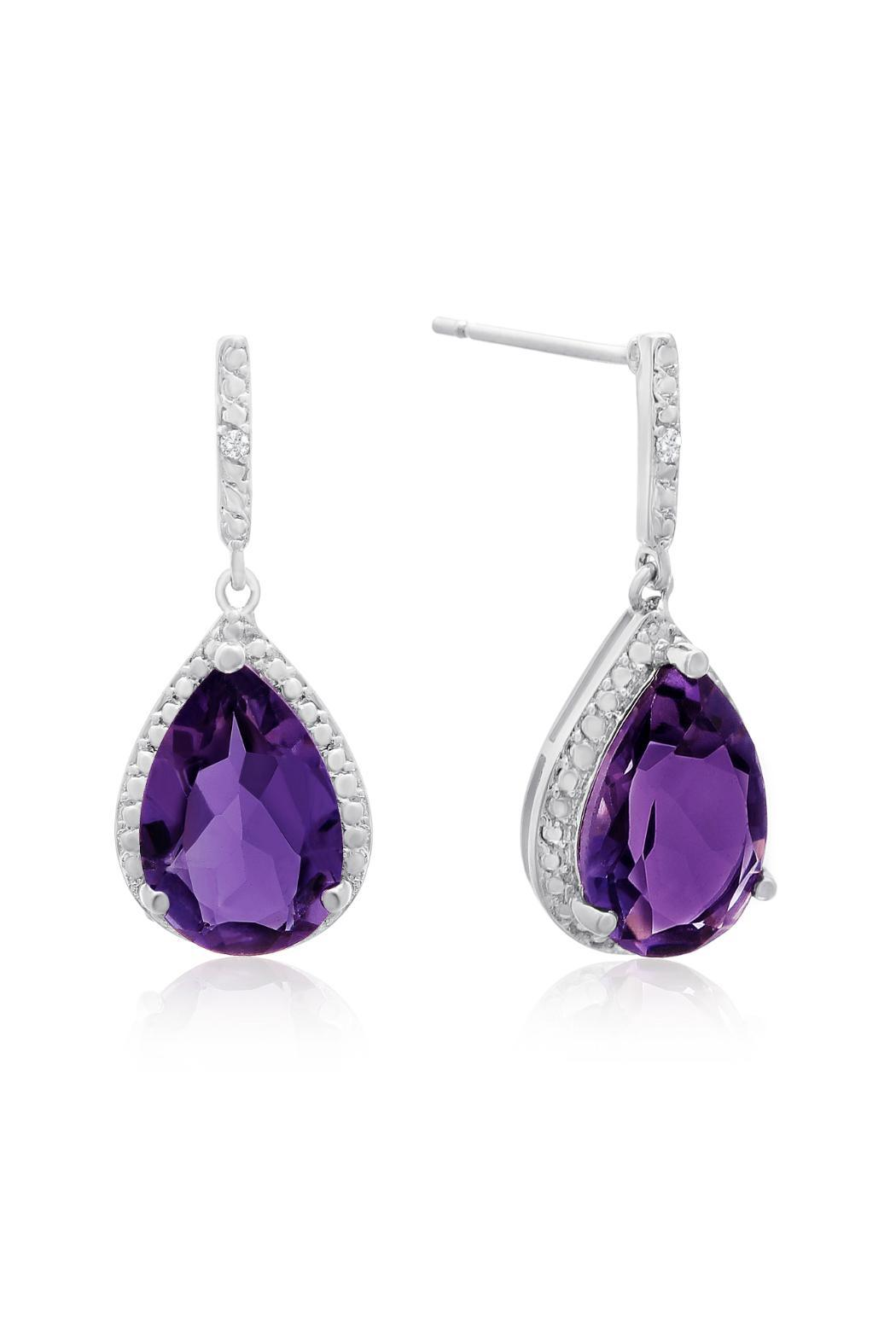 Passiana Amethyst Dangle Earrings - Front Cropped Image