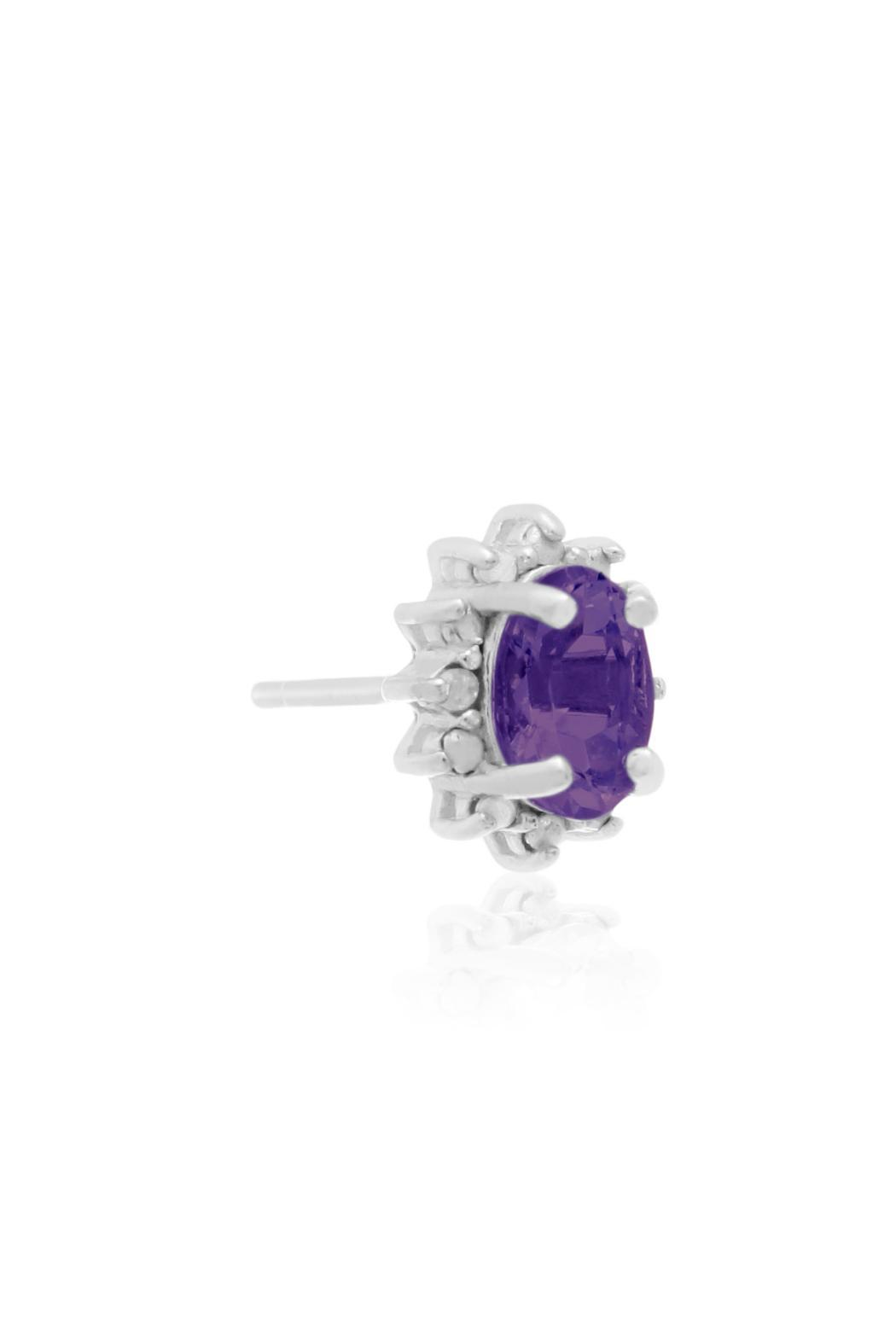 Passiana Amethyst Halo Earrings - Side Cropped Image