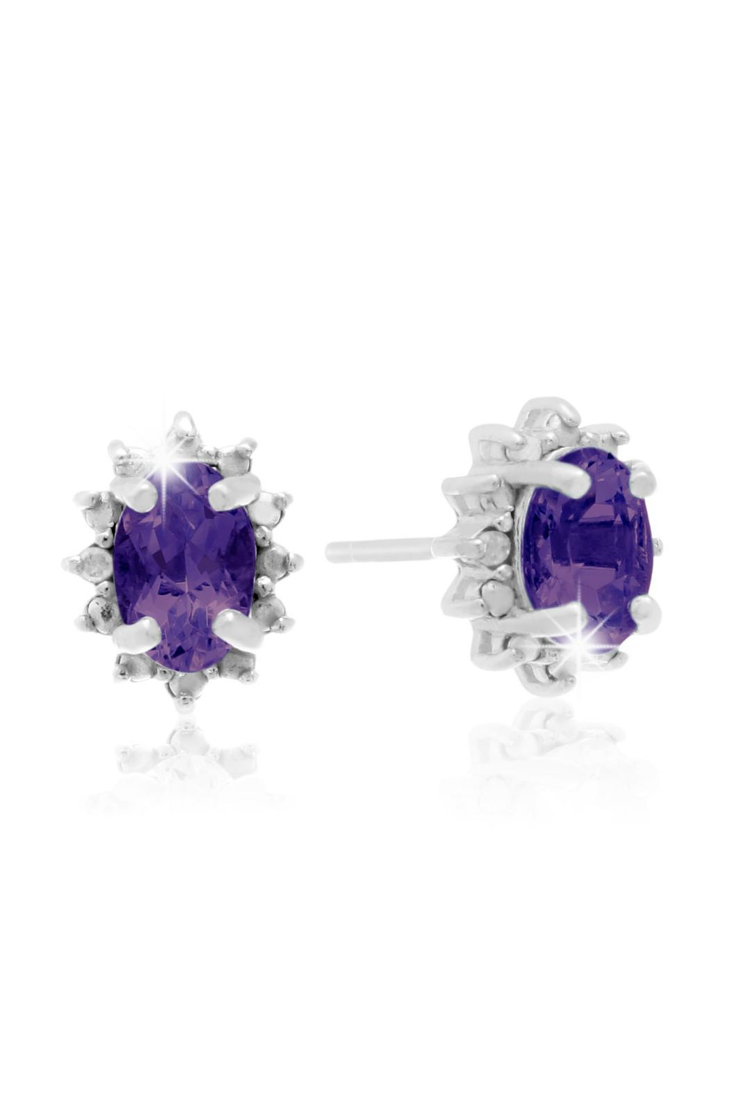 Passiana Amethyst Halo Earrings - Front Cropped Image