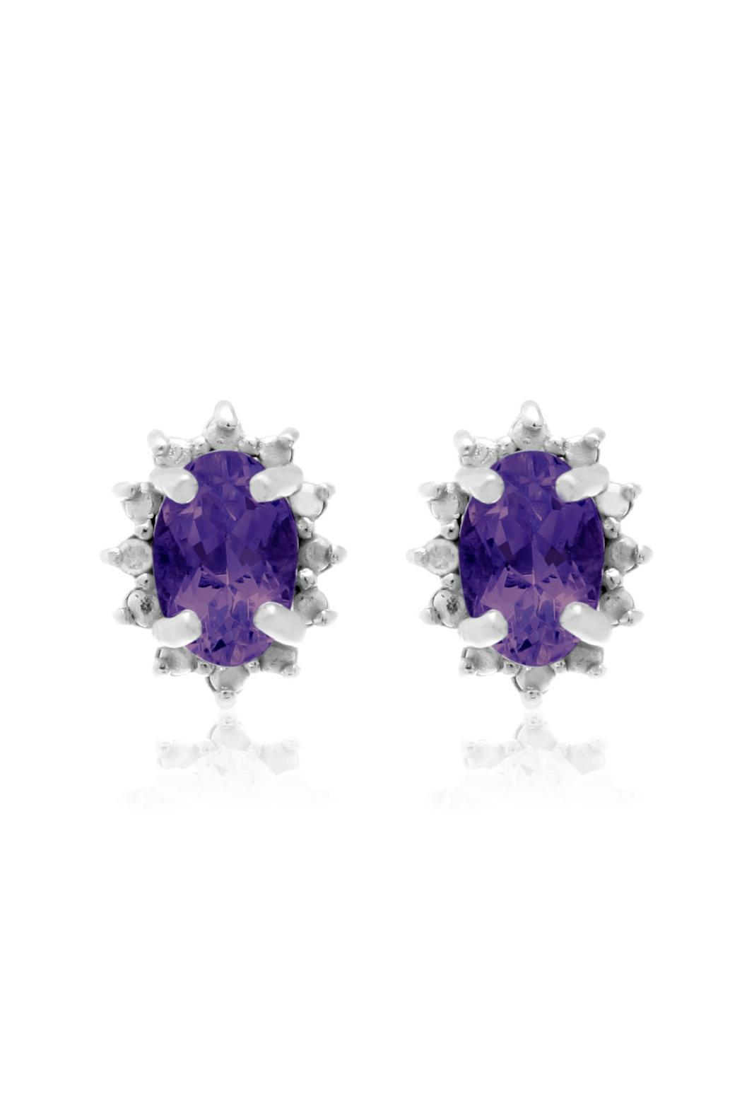 Passiana Amethyst Halo Earrings - Front Full Image