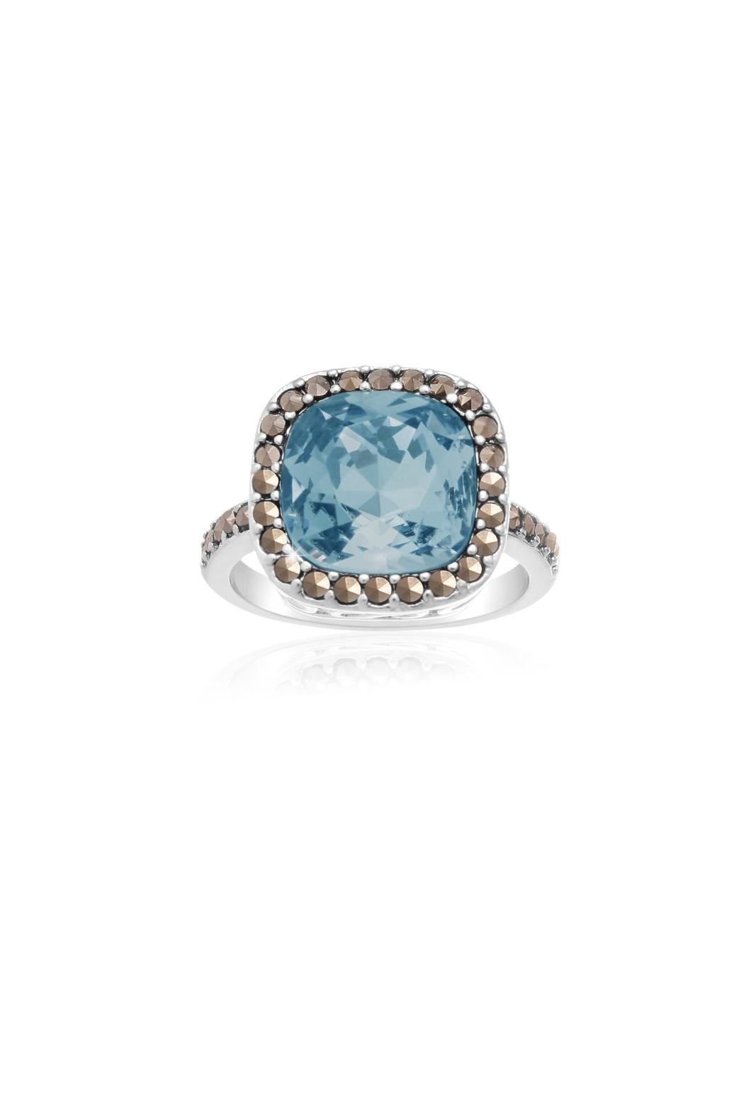 Passiana Aquamarine Halo Ring - Main Image
